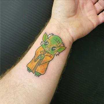 colour tattoo yoda star wars primitive tattoo wrist