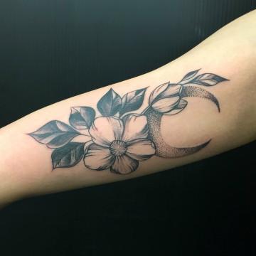 moon flower primitive tattoo dotwork
