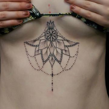 perth primitive tattoo sternum mandala dotwork petra