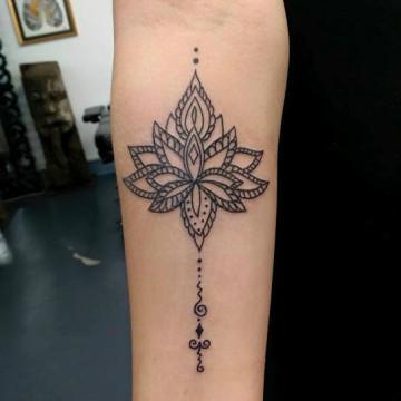 primitive tattoo perth ink tattoo lotus mandala arm