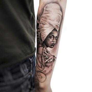 Erick primitive tattoo best tattoo shop studio in perth realism portrait script watercolour www.primitivetattoo.com.au410