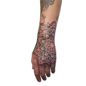 Petra Mandala Geometry geometric tattoo floral sternum hand femals tattoo primitive tattoo tribal best tattoo shop studio in perth script www.primitivetattoo.com.au24