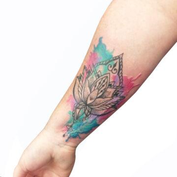 Petra Mandala Geometry geometric tattoo floral sternum hand femals tattoo primitive tattoo tribal best tattoo shop studio in perth script www.primitivetattoo.com.au2529